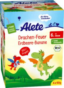 Alete Quetschbeutel Drachen-Feuer Erdbeere-Banane ab 6. Monat, 4x90g