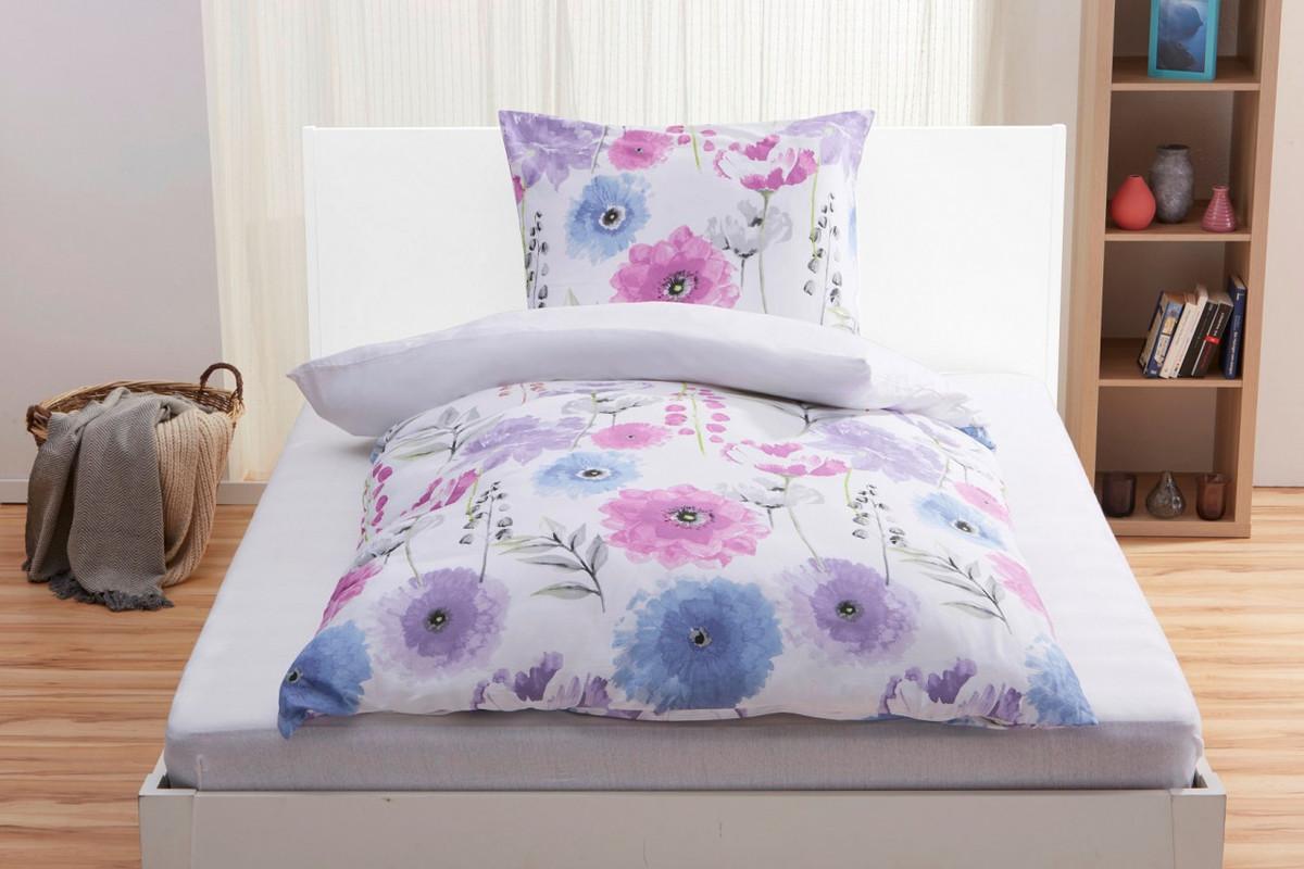 Bild 2 von Home Ideas Living Satin-Bettwäsche, Blume