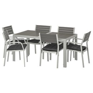 SJÄLLAND                                Tisch+6 Armlehnstühle/außen, dunkelgrau, Hållö schwarz, 156x90 cm