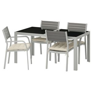 SJÄLLAND                                Tisch+4 Armlehnstühle/außen, Glas, Hållö beige, 156x90 cm