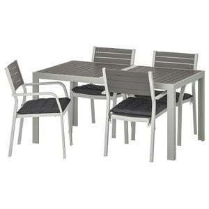 SJÄLLAND                                Tisch+4 Armlehnstühle/außen, dunkelgrau, Hållö schwarz, 156x90 cm