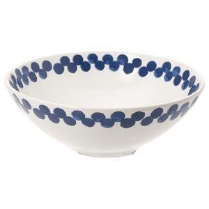 MEDLEM                                Schüssel, weiß/blau, gemustert, 19 cm