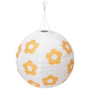 SOLVINDEN                                Solarhängeleuchte, LED, für draußen rund, geblümt gelb, 45 cm