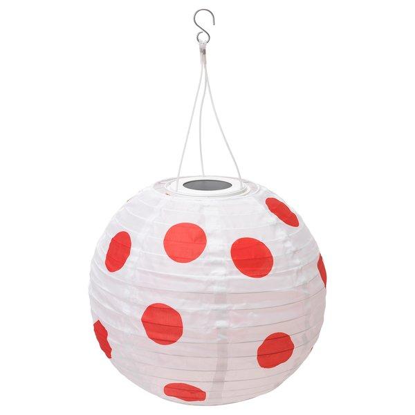 SOLVINDEN                                Solarhängeleuchte, LED, für draußen rund, gepunktet rot, 30 cm