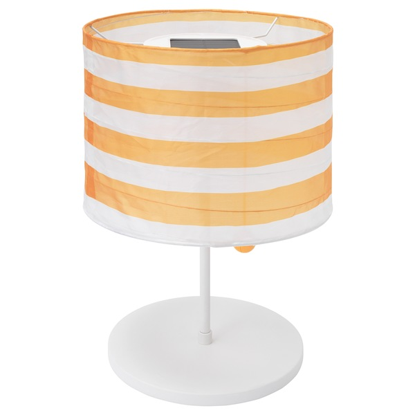 SOLVINDEN                                Solartischleuchte, LED, für draußen, gestreift gelb/weiß