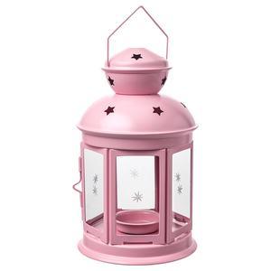 ROTERA                                Laterne für Teelicht, drinnen/draußen, hellrosa, 21 cm