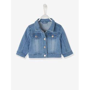 Vertbaudet   Jeansjacke für Baby Mädchen, hinten bestickt verwascht hellblau