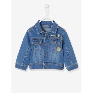 Vertbaudet   Jeansjacke für Baby Jungen, Applikationen verwascht dunkelblau
