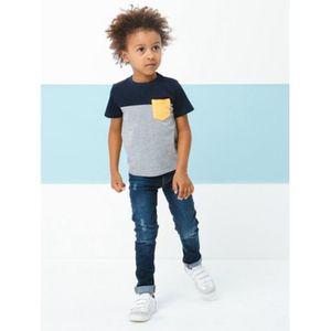 Vertbaudet   Jungen Slim-Fit-Jeans, Hüftweite SLIM, Used einfarbig dunkelblau