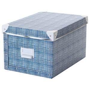 FJÄLLA                                Kasten mit Deckel, weiß, blau, 25x36x20 cm