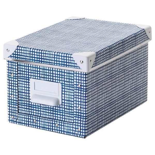 FJÄLLA                                Kasten mit Deckel, weiß, blau, 18x26x15 cm