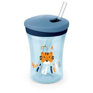 NUK Action Cup Trinklernbecher mit Strohhalm, blau
