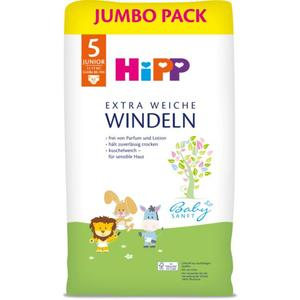 HiPP Babysanft extra weiche Windeln Jumbo Pack Größe 5 (Junior, 11-17 EUR/