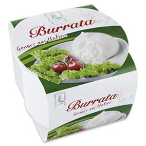 Burrata,  Ital. Käsezubereitung aus Mozzarella und Sahne, mind. 53 % Fett i. Tr., 200 g Becher
