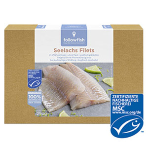 followfish Seelachs Filets gefroren, jede 250-g-Packung