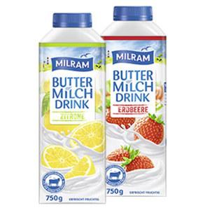 Milram Buttermilch Drink versch. Sorten, jede 750-g-Packung