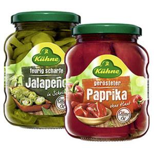 Kühne Paprika geröstet oder Jalapenos jedes 370-ml-Glas /165/210 g Abtropfgewicht