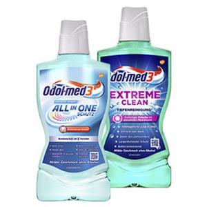 Odol-med3 Mundspülung extreme clean oder all-in-one Schutz, jede 500-ml-Flasche