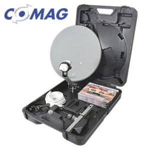 Mobile digitale HD-Camping-Sat-Anlage K31120 mit EasyFind LNB · EPG, OSD-Menü, DiSEqC® 1.2 · inkl. Mast-/Wand-Halterung, Saug-/Standfuß und 35-cm-Spiegel · 12- oder 230-Volt-Betrieb · HDMI-/Sc