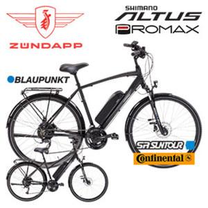 Alu-Elektro-Trekkingrad Green 4.0 Damen oder Herren 28er • Fahrunterstützung bis ca. 25 km/h • hochwertiger Li-Ionen-Akku 36 V/10,4 Ah, 374 Watt • Reichweite: bis ca. 100 km (je nach Fahrweise