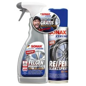 """SONAX 2307000 XTREME FelgenReiniger PlUS 500 ml mit ReifenGlanzSpray """"wet look"""" 300 ml im Aktionsset"""