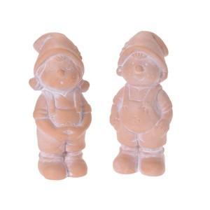 Gartenzwerg Mädchen oder Junge aus Keramik in terracotta