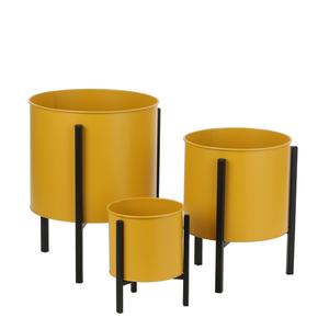Jessy Plant Standard gelb Satz von 3 mit Topf - h35xd27cm