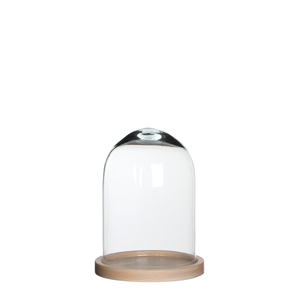 Hella Glocke Glas auf Teller h.braun - h23xd17cm