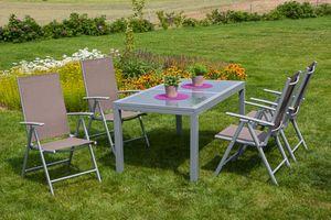 Merxx Tischgruppe Amalfi, 5-tlg taupe, Tisch 120/180 x 90 cm