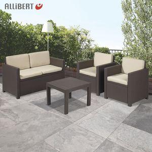 Allibert Lounge-Sitzgruppe Victoria Braun mit Auflagenset