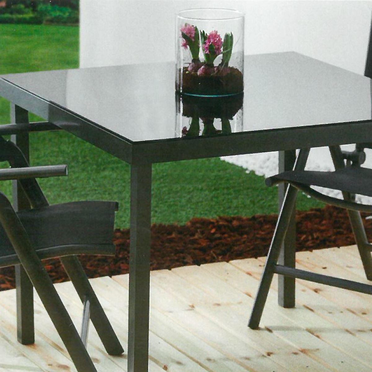 Bild 2 von Gartentisch Korfu mit Glasplatte 90x74,5x90cm Anthrazit