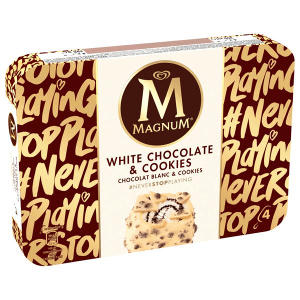 Magnum White Chocolate & Cookies Familienpackung 4x90 ml