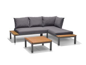 FLORABEST Loungeecke 3tlg. Alu/Holz