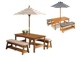 KidKraft Kinder Gartentischset mit Bänken, Kissen und Sonnenschirm