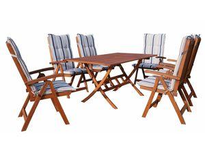 Grasekamp Gartenmöbel 13tlg mit 160cm Klapptisch  Terrassenmöbel Santos Marine