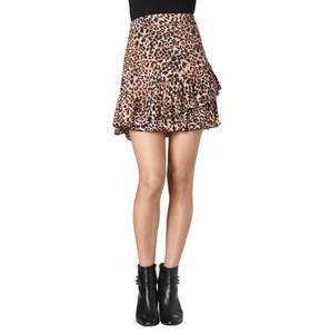 ONLY             Rock, kurz, Volants, Leoparden-Print