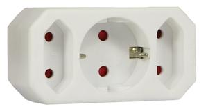 Steckdosen Adapter ohne Schalter, 3 fach, weiß Arcas