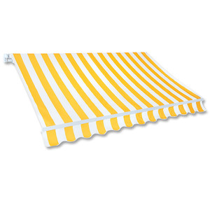 Gelenkarm-Markise 5,0 x 3,0 m gelb-weiß (Profilfarbe: Weiß)
