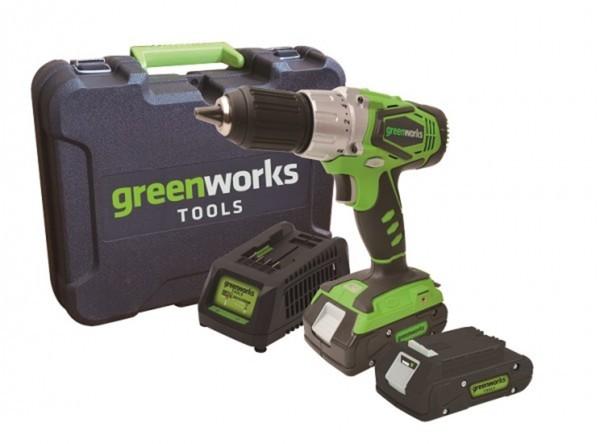 Greenworks Akkubohrschrauber-Set ,  24 V, 2 Ah, Li-Ion, inkl. 2. Akku