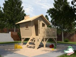 Weka Kinderspielhaus Lotti mit Treppe und Terrasse ,  Maße: 215  x 224  x 216  cm, fichte natur