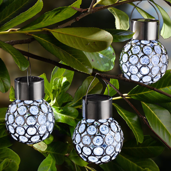 I-Glow LED-Solar-Leuchtkugeln, Crystal Weiß - 3er Set