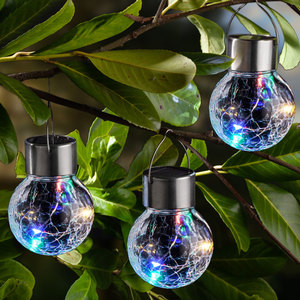 I-Glow LED-Solar-Leuchtkugeln, Crackle Bunt - 3er Set