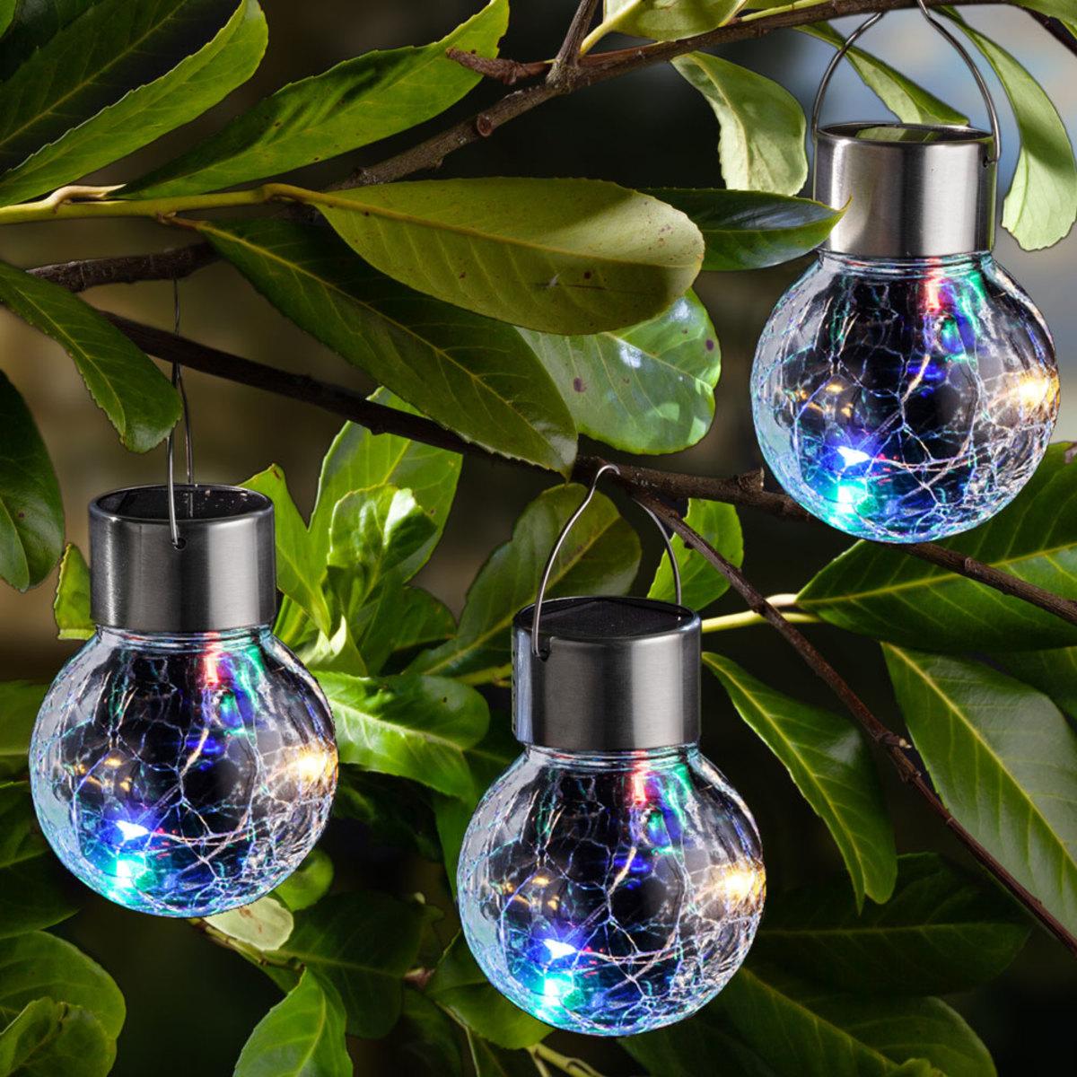 Bild 1 von I-Glow LED-Solar-Leuchtkugeln, Crackle Bunt - 3er Set