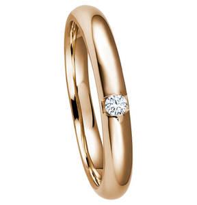 Moncara             Ring 375 Roségold mit 1 Diamant, ca. 0,04 ct.