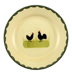 """Zeller Keramik             Teller """"Hahn und Henne"""", flach, 21 cm"""