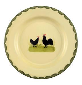 """Zeller Keramik             Teller """"Hahn und Henne"""", flach, 25cm"""