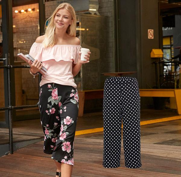 Laura Torelli Young Fashion Damen-Culotte-Hose mit modischem Druck