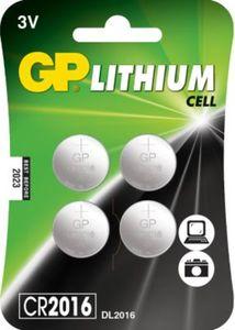 Knopfzelle GP Lithium CR2016, 3 Volt, 4er Blister