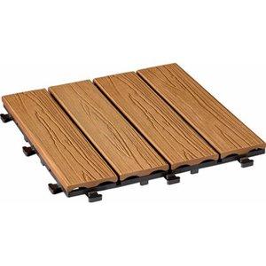 WPC Klick-Fliese Holzstruktur-Optik Bangkirai 30 x 30cm 6 Stück