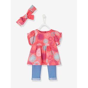 Vertbaudet   Baby-Set: Bluse, Treggings und Haarband für Mädche gedruckt hellrot